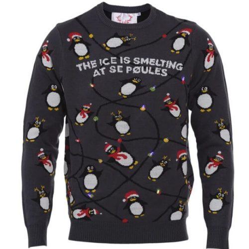 julesweater med pingviner